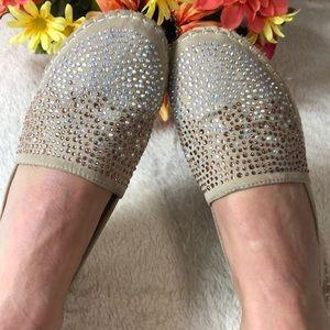 BELLA MARIE bejeweled beige suede espadrilles